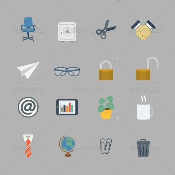 GraphicRiver Business Collection of Flat Office Supplies 6818643