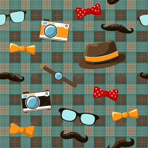 GraphicRiver Hipster Items on Seamless Tablecloth 6818645
