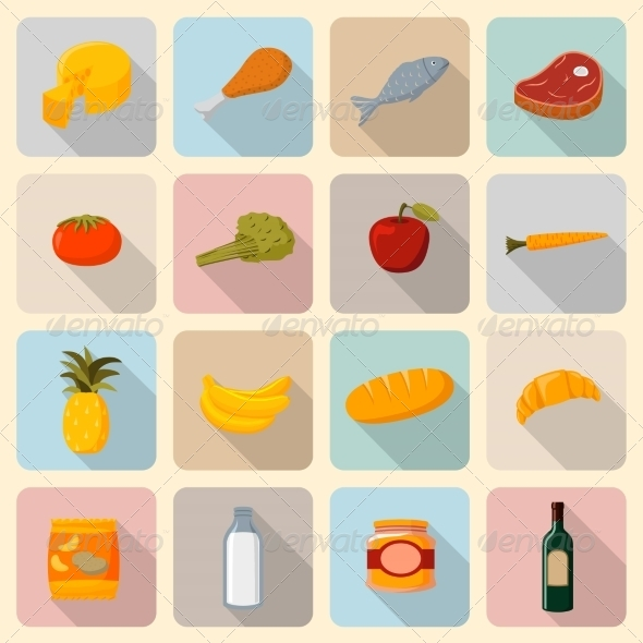 GraphicRiver Supermarket Foods Icons Set 6818646