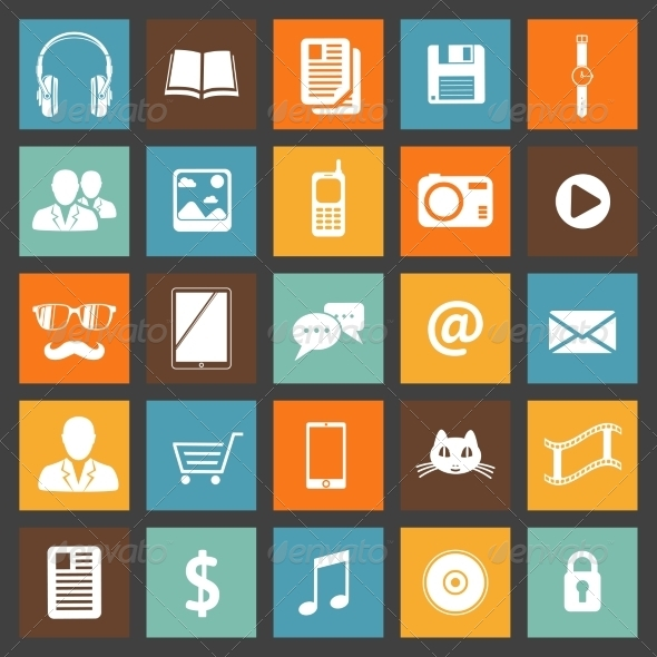 GraphicRiver Flat Media Devices and Services Icons Set 6818653