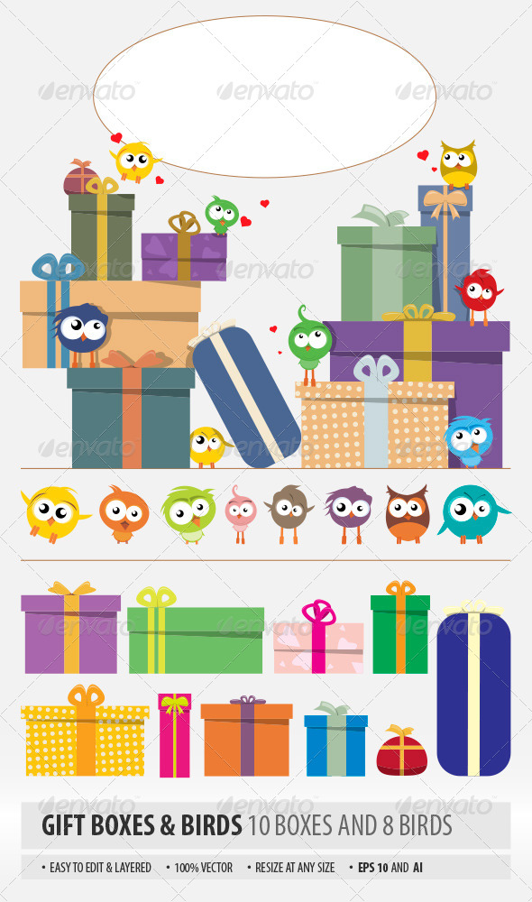 GraphicRiver Gift Boxes and Birds 6818949