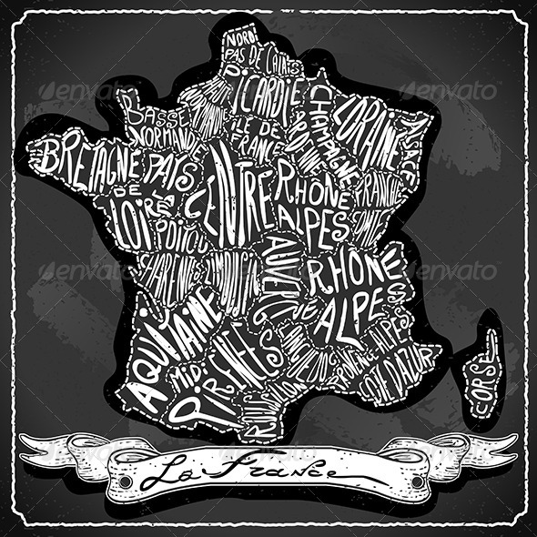 GraphicRiver France Map on Vintage Handwriting BlackBoard 6819252