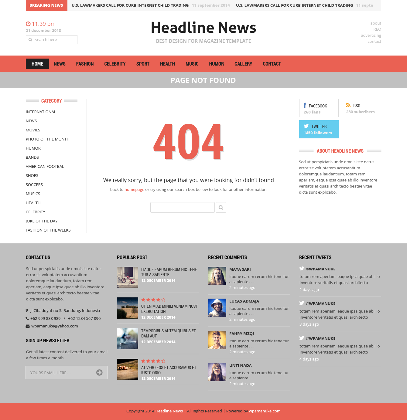 Headline News Magazine PSD Template