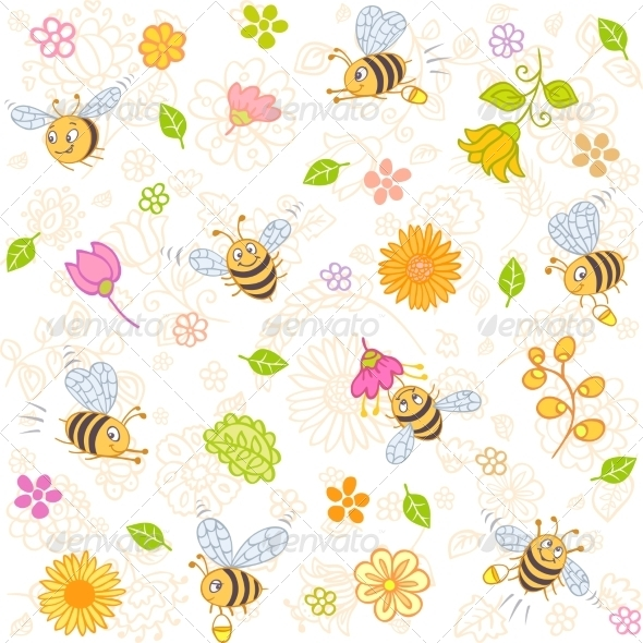 GraphicRiver Bees Seamless 6819432