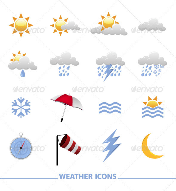 Graphic River Weather icons Vectors -  Conceptual  Nature  Seasons 710898