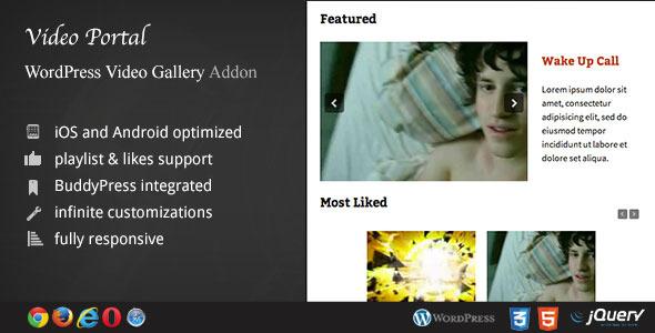 CodeCanyon Video Portal WordPress Video Gallery AddOn 6819712