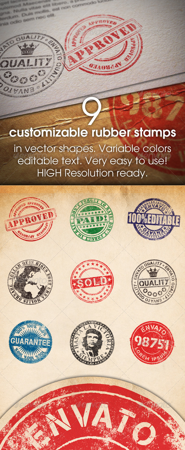 Graphic River 9 Customizable Rubber Stamps Add-ons -  Photoshop 709041