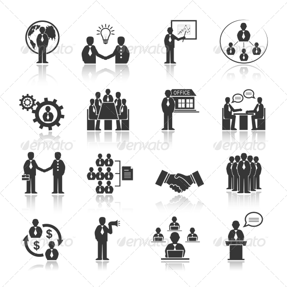 GraphicRiver Business People Meeting Icons Set 6820034
