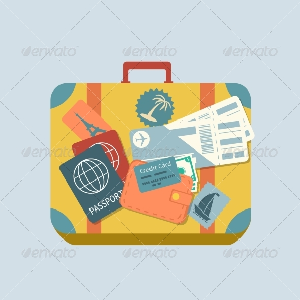 GraphicRiver Travel Suitcase with Stickers 6820057