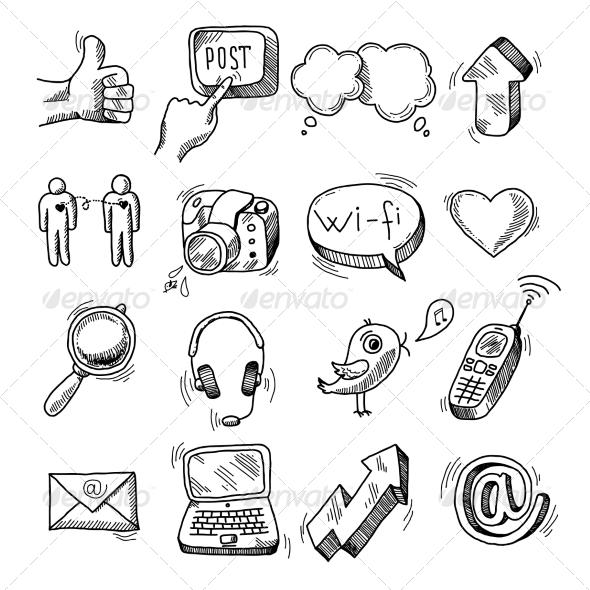 GraphicRiver Doodle Social Icons Set 6820080