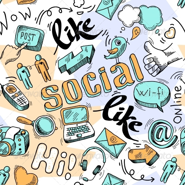 GraphicRiver Seamless Doodle Social Media Pattern Background 6820083