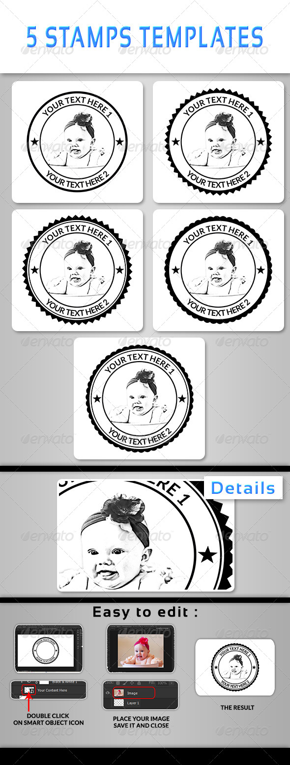 5 Stamps Templates - Miscellaneous Photo Templates