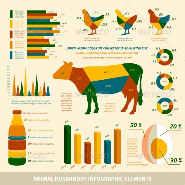 GraphicRiver Animal Husbandry Infographics Flat Design Elements 6820310