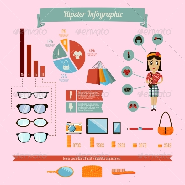GraphicRiver Hipster Infographics Elements Set with Geek Girl 6820314