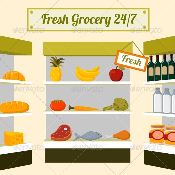 GraphicRiver Fresh Grocery Foods on Store Shelves 6820426