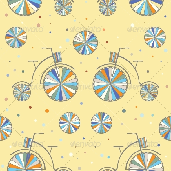 GraphicRiver Vintage Bicycle Seamless Vector Background 6820594