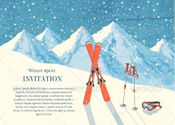 GraphicRiver Ski Winter Mountain Landscape Card 6820636