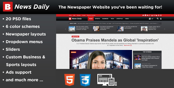 Breaking News Daily-Newspaper Magazine Blog-HTML5