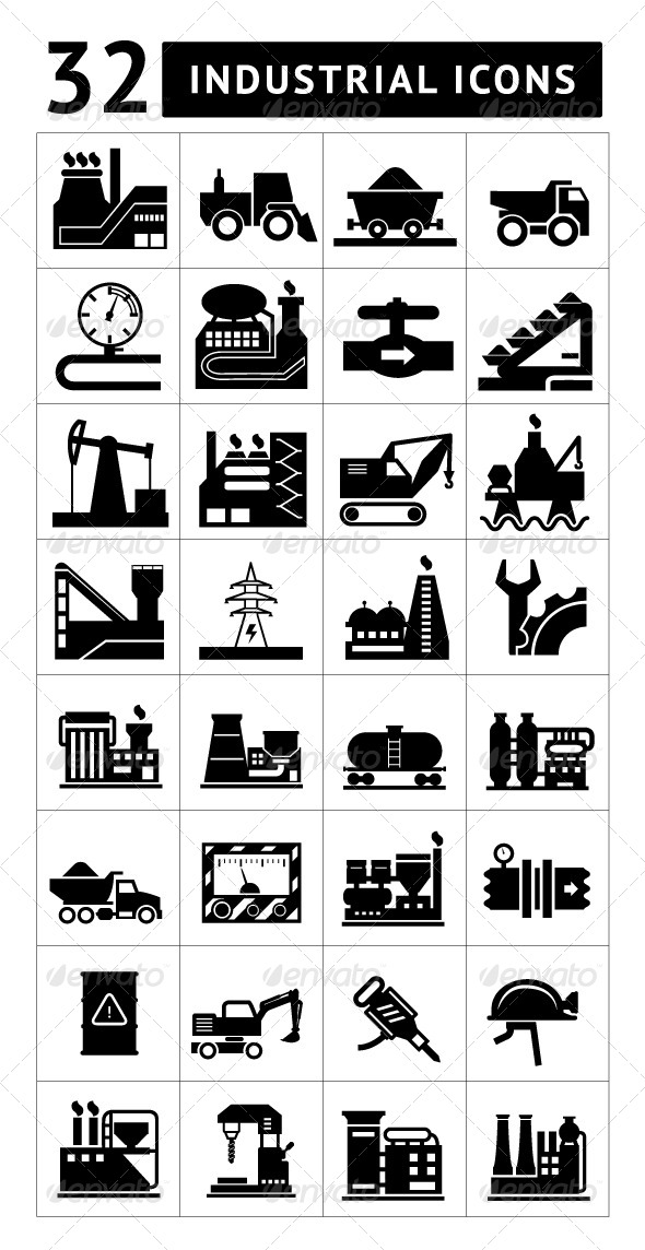 GraphicRiver Set of Industrial Icons Isolated on White 6821213