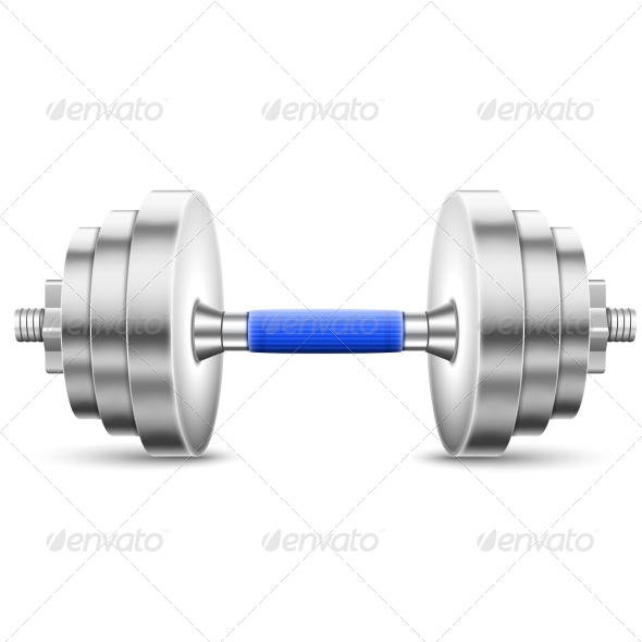 GraphicRiver Metallic Glossy Dumbbell Isolated On White 6821244