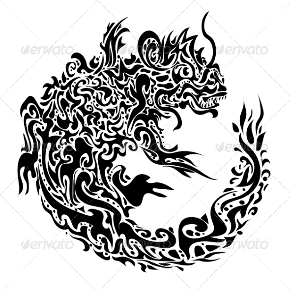 GraphicRiver Twisted Dragon Tattoo 6822348