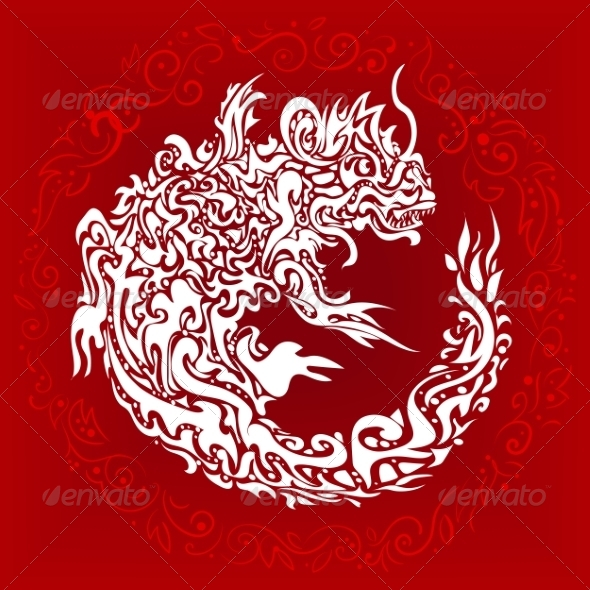 GraphicRiver Stylized Twisted Dragon Tattoo 6822359