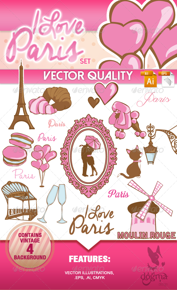 GraphicRiver I Love Paris Vintage Set 6822536
