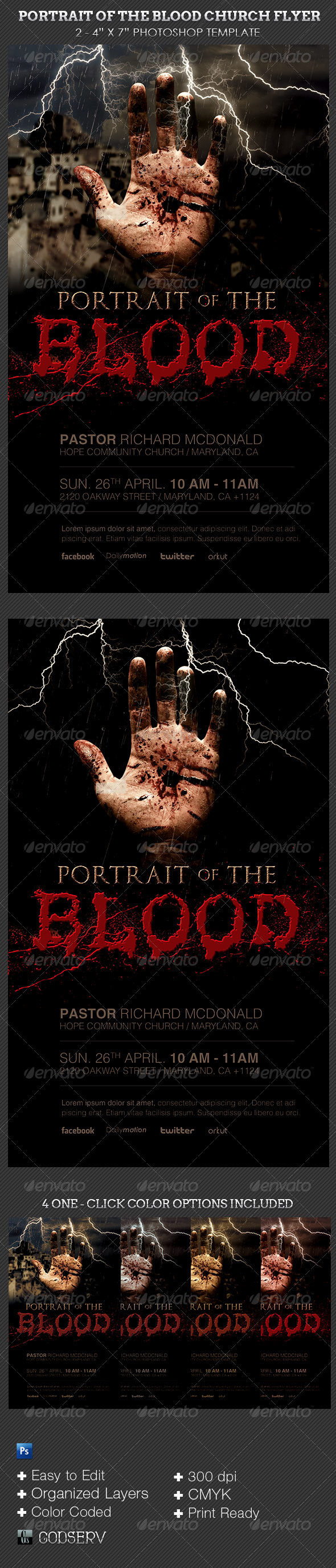 GraphicRiver Portrait of The Blood Church Flyer Template 6813716