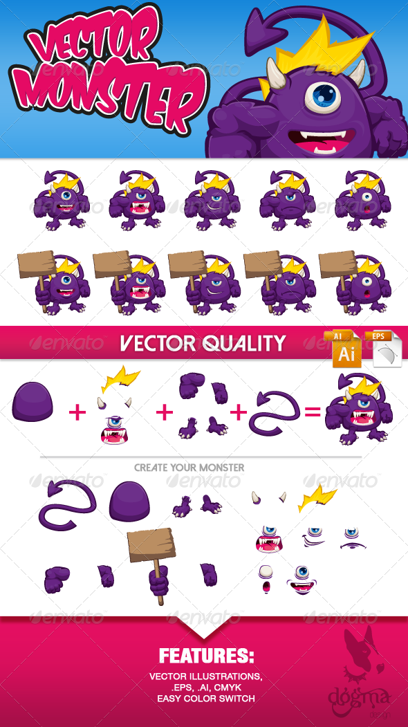 GraphicRiver Vector Monster Character Kit 6822923