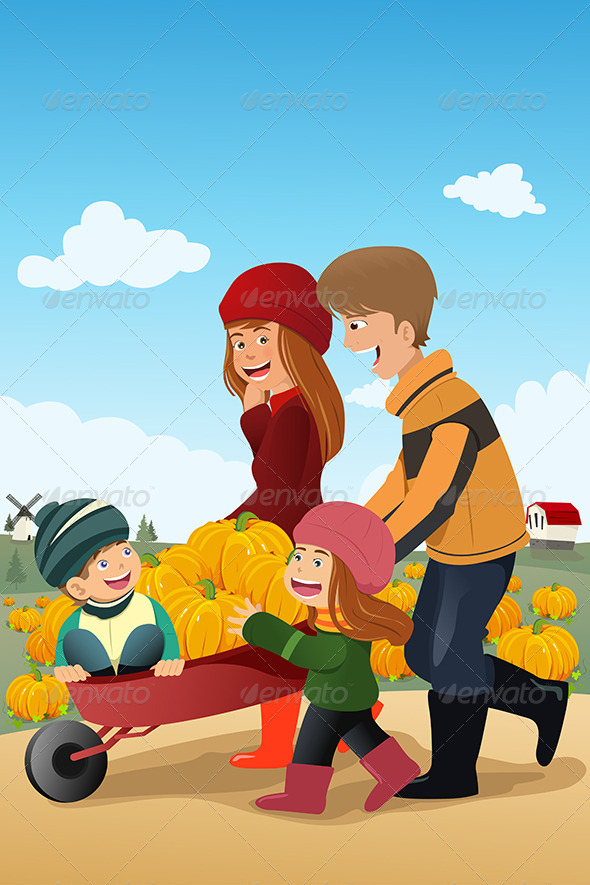 GraphicRiver Kids and Their Parents on a Pumpkin Patch 6823582
