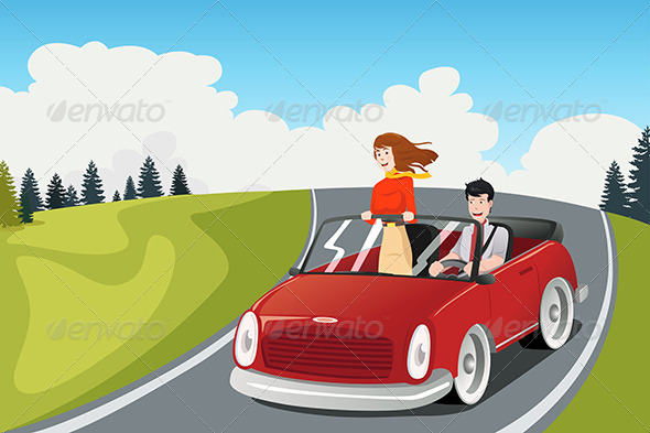 GraphicRiver Couple Riding a Car going on a Road Trip 6823703