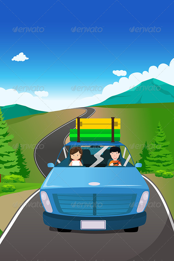 GraphicRiver Couple Riding in a Car on a Road Trip 6823934