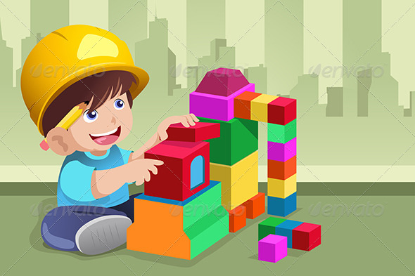 GraphicRiver Kid Playing with His Toys 6824298
