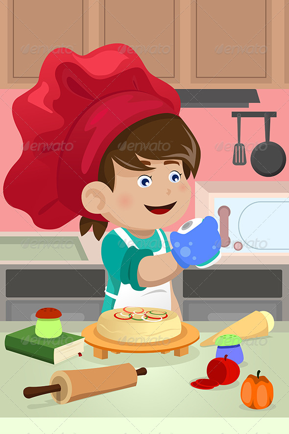 GraphicRiver Kid Cooking in the Kitchen 6824313