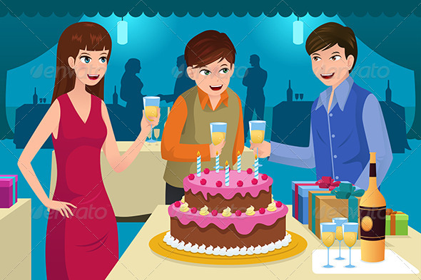 GraphicRiver Young People Celebrating a Birthday Party 6824356