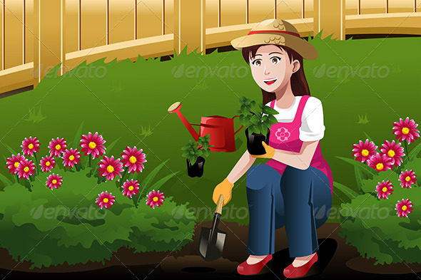 GraphicRiver Young Woman Working in the Yard 6824391