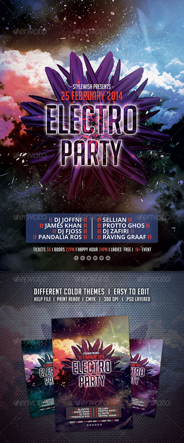 GraphicRiver Electro Party Flyer 6824527