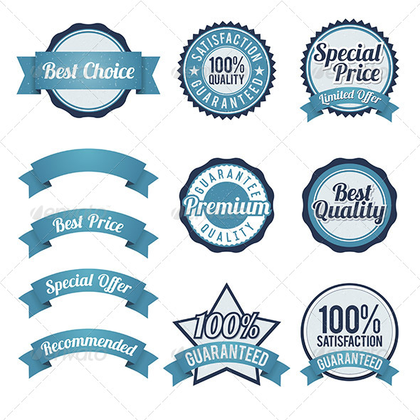 GraphicRiver Badge and Ribbon Design Elements 6824576