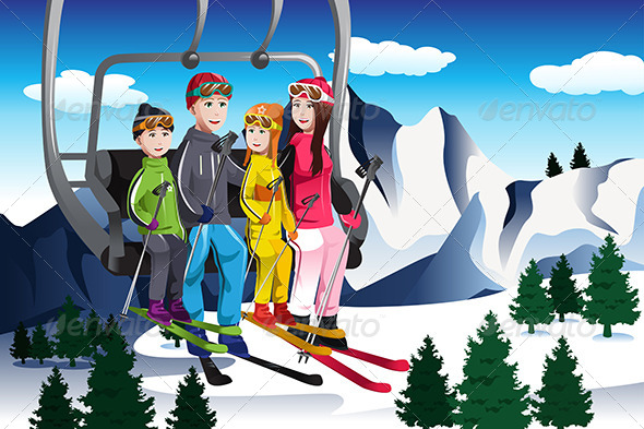 GraphicRiver Family Going Skiing Sitting on a Ski lift 6824691