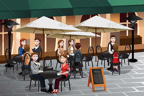 GraphicRiver People Enjoying Coffee Outside of a Cafe 6824807