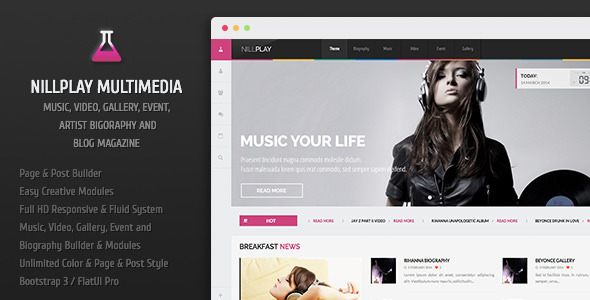ThemeForest Nillplay Multimedia Music Video Event Magazine 6788457