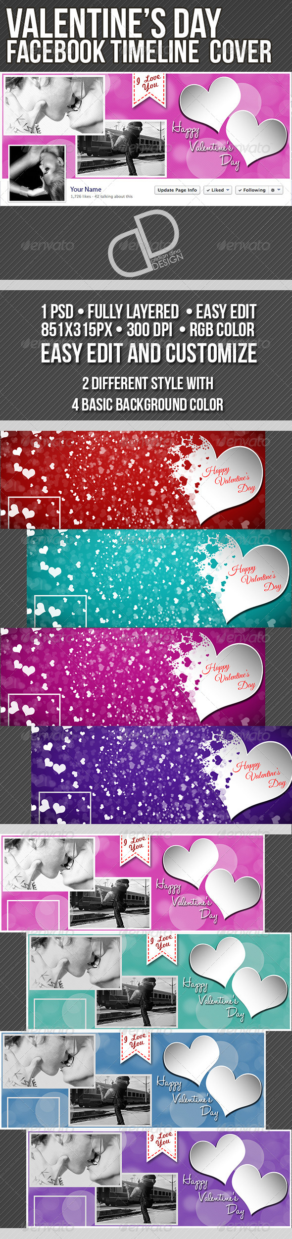 GraphicRiver Valentine s Day Timeline Cover 6825258