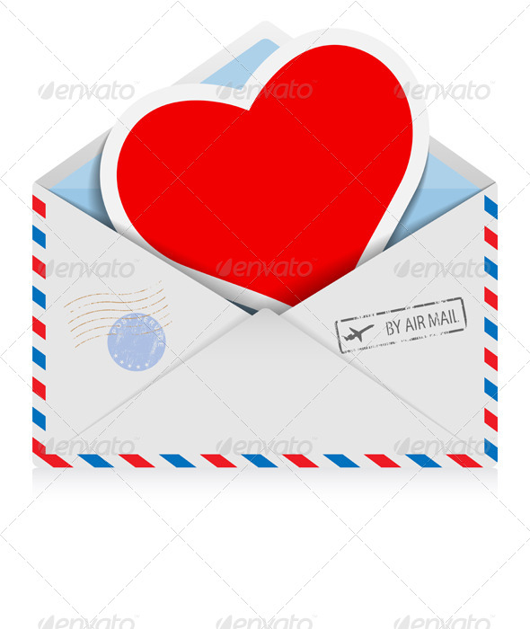Postal Envelope with Heart