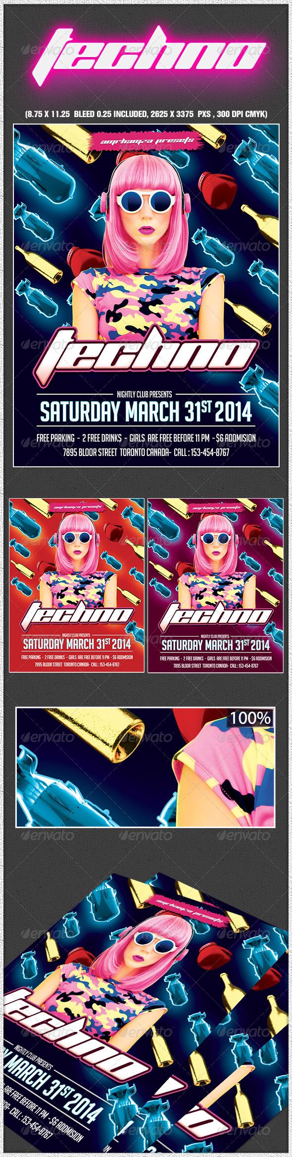 GraphicRiver Techno Music Flyer 6826265