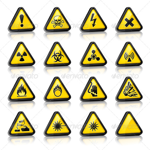GraphicRiver Set of Three-Dimensional Warning Hazard Signs 6826270