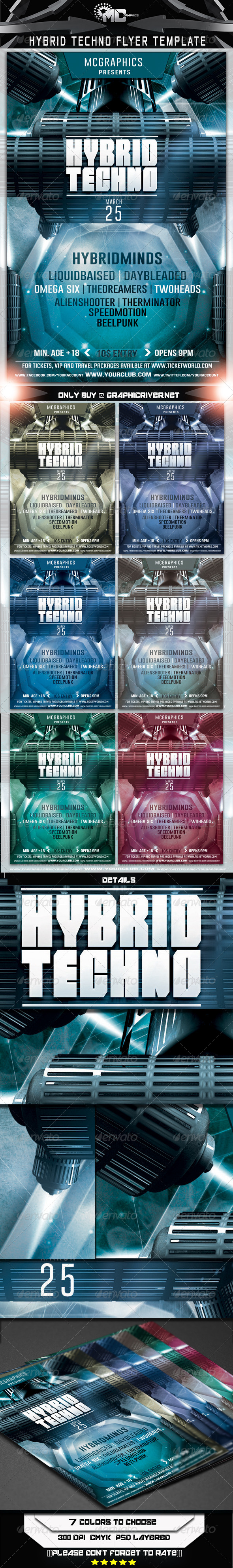 GraphicRiver Hybrid Techno Flyer Template 6791109