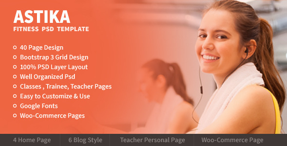 ThemeForest Astika Fitness & Classes PSD Template 6826345