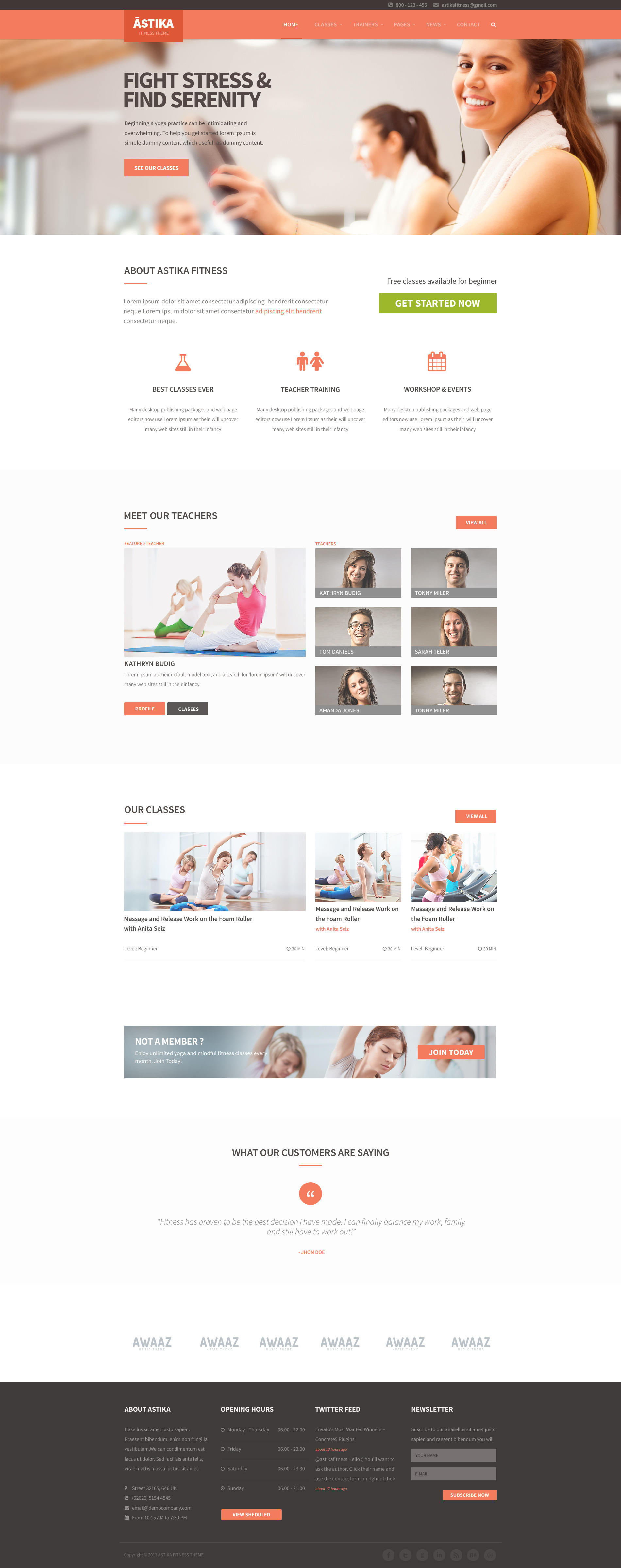 Astika Fitness & Classes PSD Template