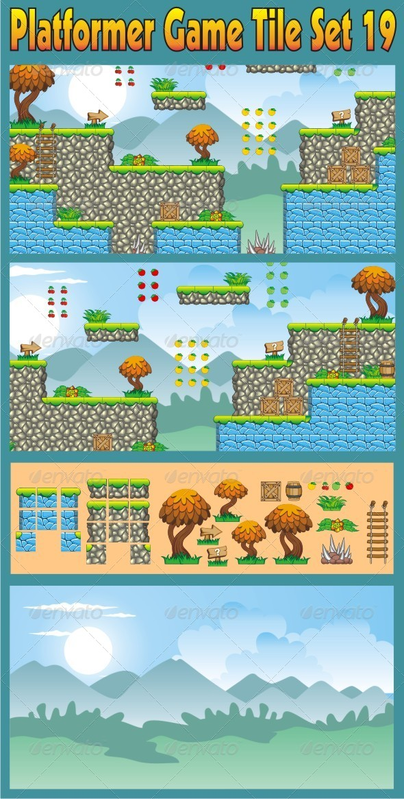 Platformer Game Tile Set 19