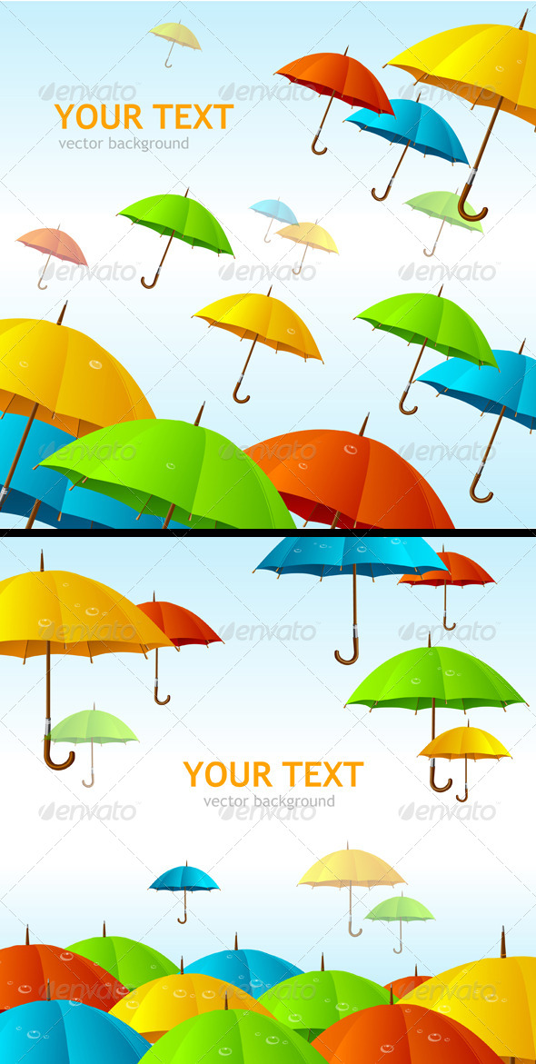 GraphicRiver Colorful Umbrellas Flying High Background 6826534